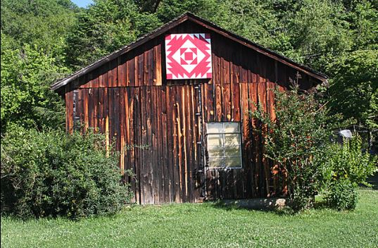 Barn in Trees with Red Barn Quilt
