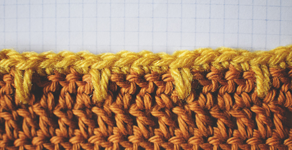 Close Up of Blanket Edge or Spike Stitch