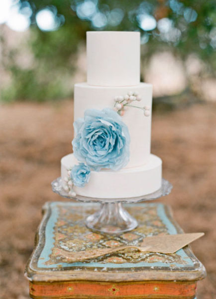 Tiered White Wedding Cake with Blue Rice Paper Flower
