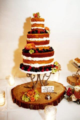 Naked Cake with Berries and Roses, on Stand