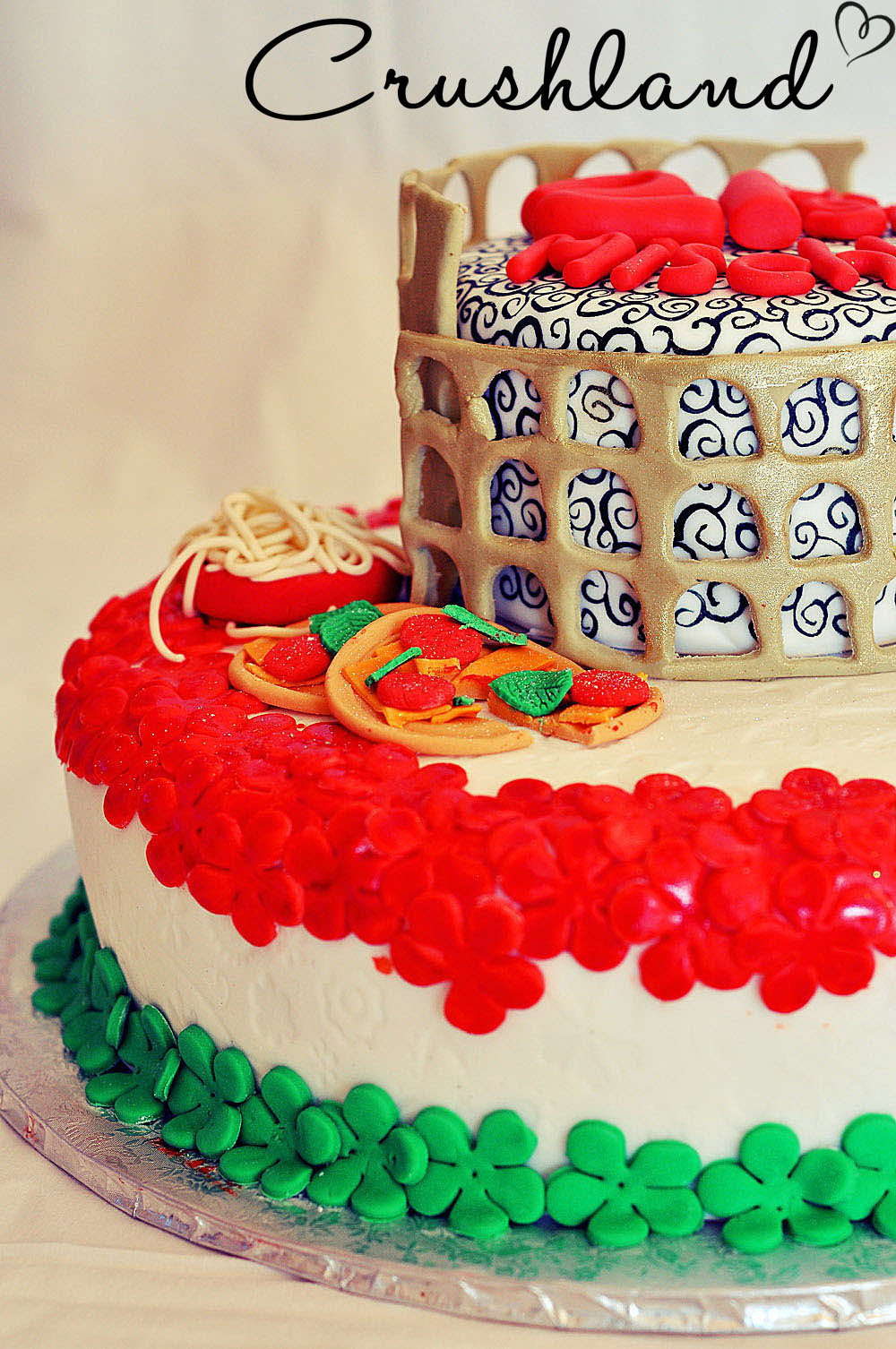 Cake Decorated Like Pizza and Coliseum