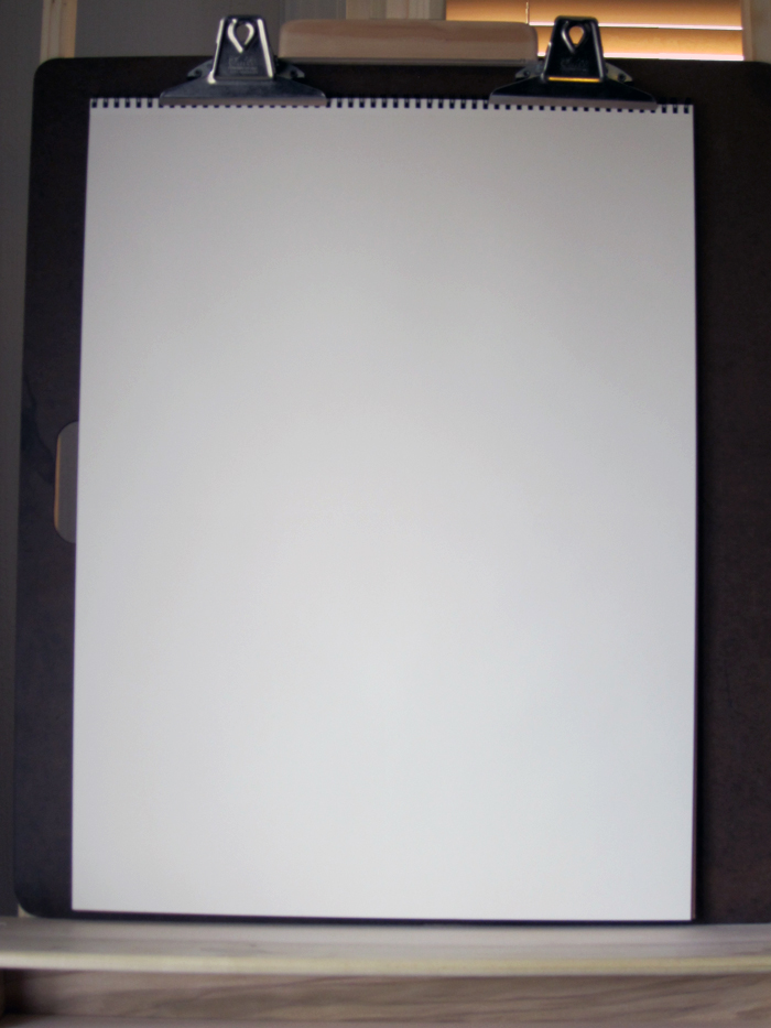 Blank Drawing Pad Attached to Drawing Board