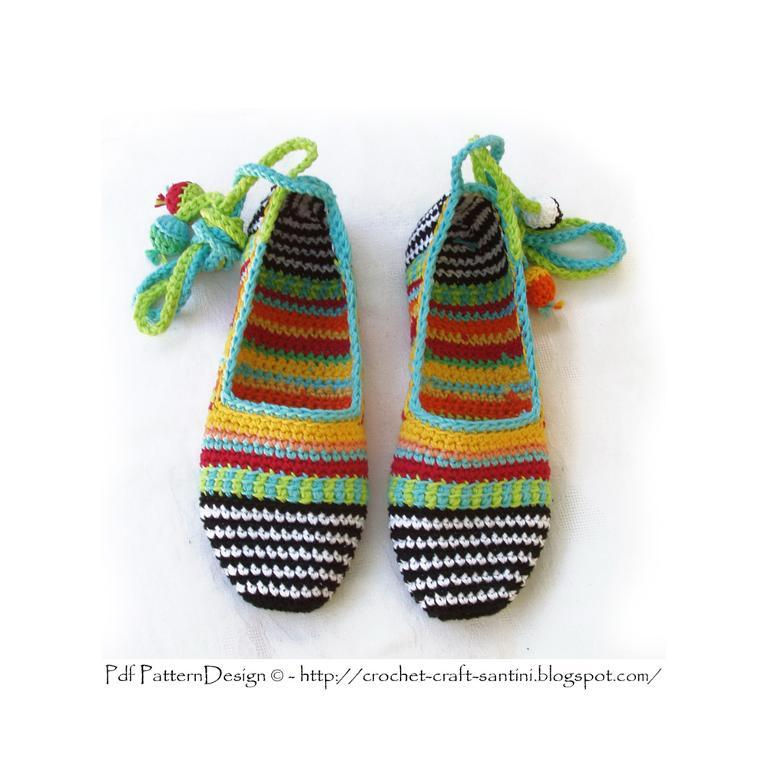 Pair of Striped Crochet Slippers