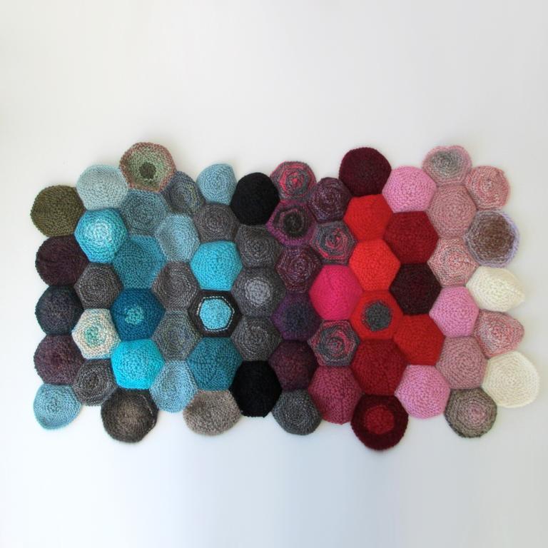 Work of Geometric, Colorful Art from Yarn