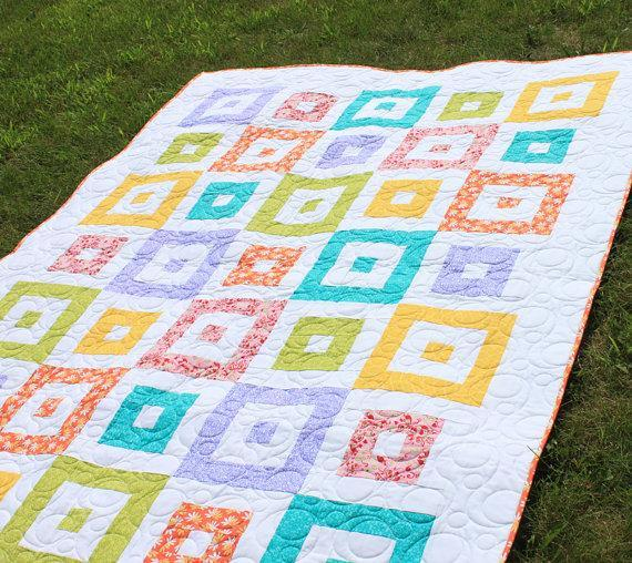 Quilt with Patterned Framed Blocks