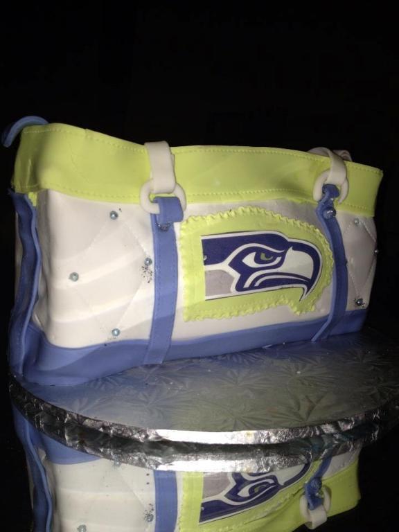 Cake Shaped Like Bag with Seahawk on It
