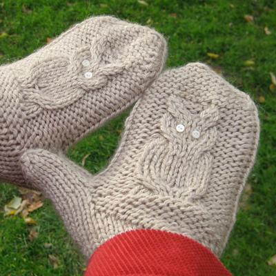 Hands Wearing Grey Owl Mittens