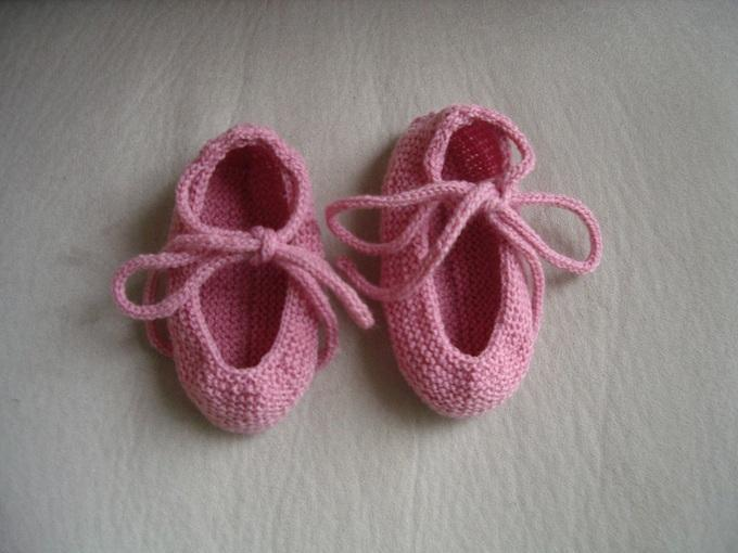 Pink Knit Baby Booties