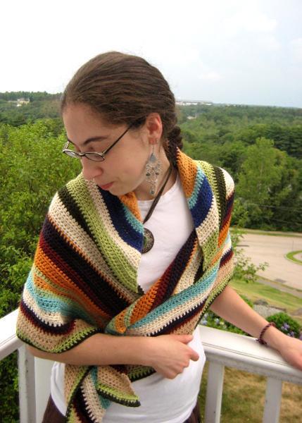 Woman Wearing Striped Crochet Shawl
