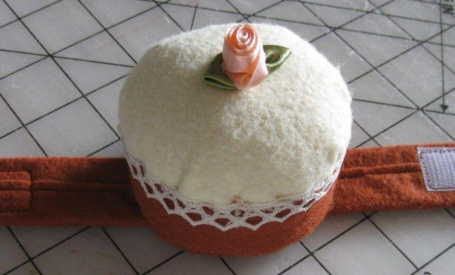 Pincushion in Shape of a Cupcake with Rosette on Top