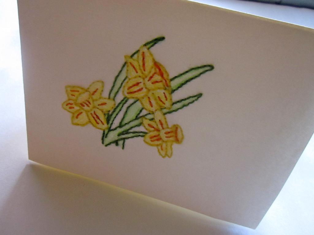 Car Featuring Stitched Yellow Daffodils