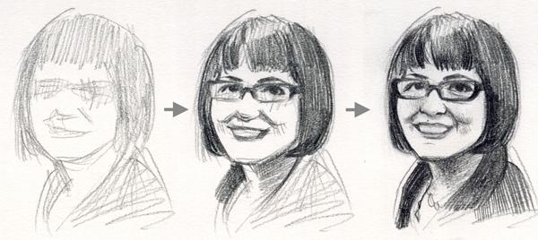 Progressive Drawn Portrait of Woman Wearing Glasses