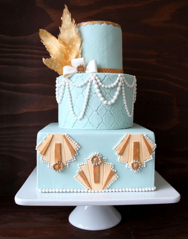 Blue Tiered Wedding Cake with Pearls and Rice Paper Leaves