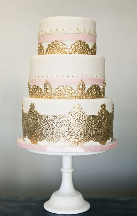 White Tiered Cake with Gold Lace