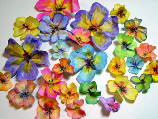 Collection of Colorful Rice Paper Pansies