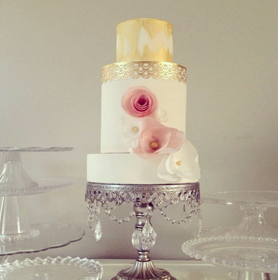 Tiered White Cake with Gold Top and Pink Flowers