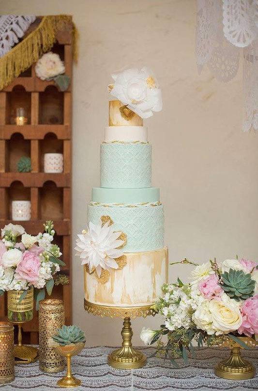 Tiered Blue, White and Gold Cake with Rice Paper Rose Topper