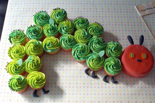 Cupcakes in Shape of the Very Hungry Caterpillar