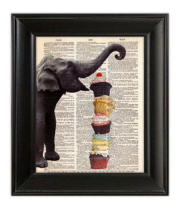 Print of Elephant About to Eat a Large Stack of Cupcakes