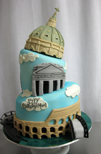 Topsy-Turvy Cake Decorated with Various Landmarks in Rome