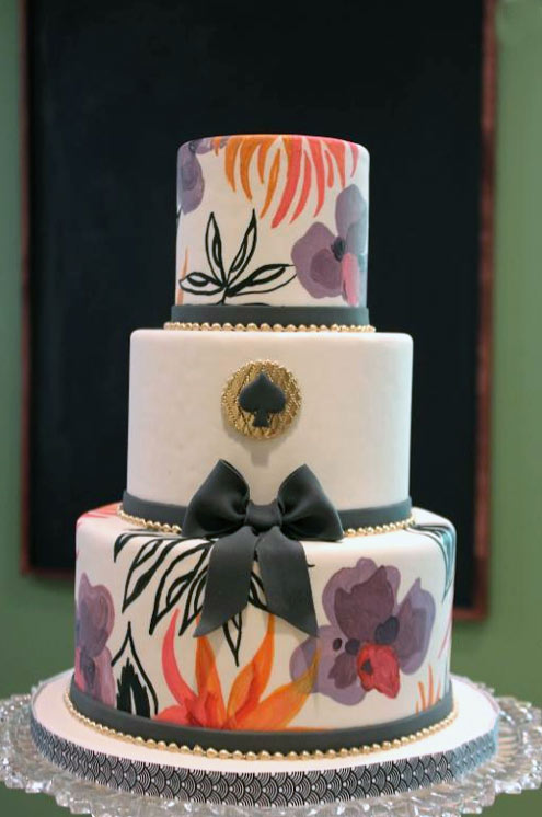 Fashion-Inspired Cake with Colorful Flora Designs