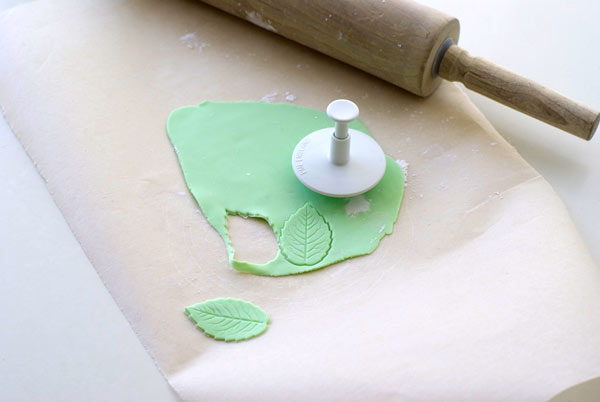 Rolling Pin, Green Fondant, Fondant Cutter and Wax Paper