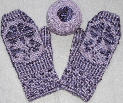 Purple Mittens with Morning Glory Theme