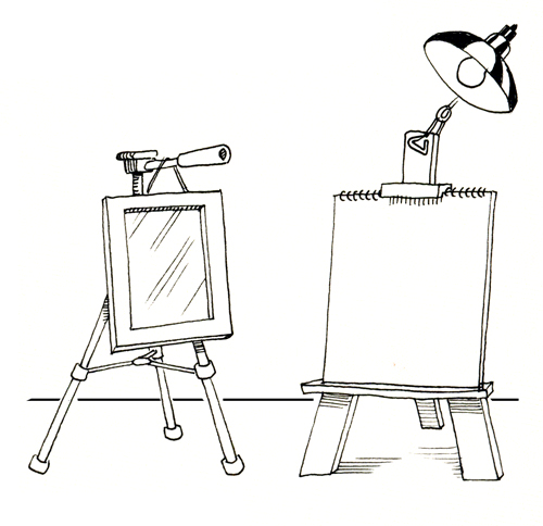 Sketch of Two Easels, One with Mirror, One with Sketch Pad