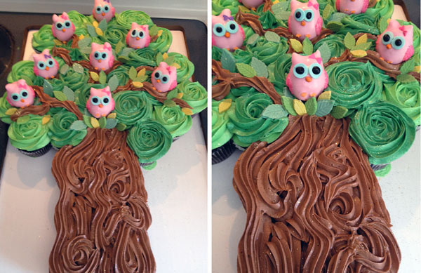 Cupcakes in Shape of Owls in a Tree