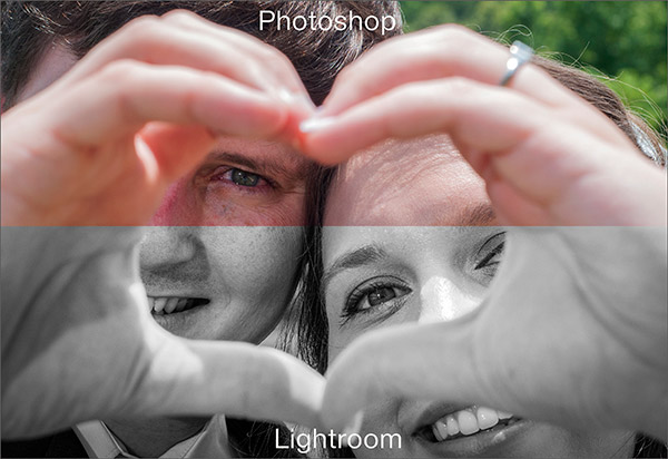 image of a couple comparing Photoshop and Lightroom
