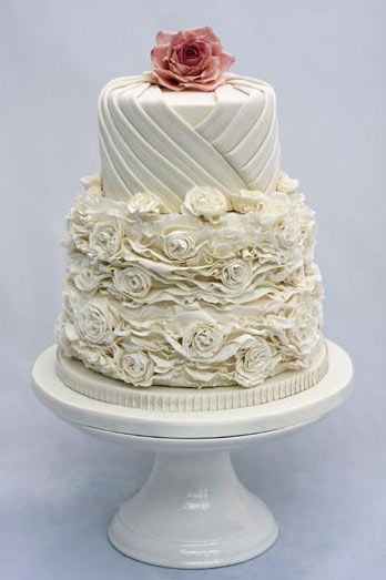 White Cake with Frilled Floral Design on Bottom, Flower on Top