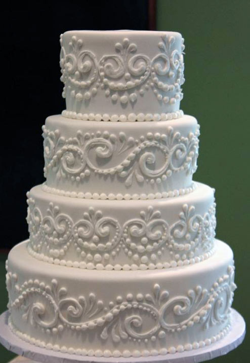 Tiered White Cake with Lace Piping