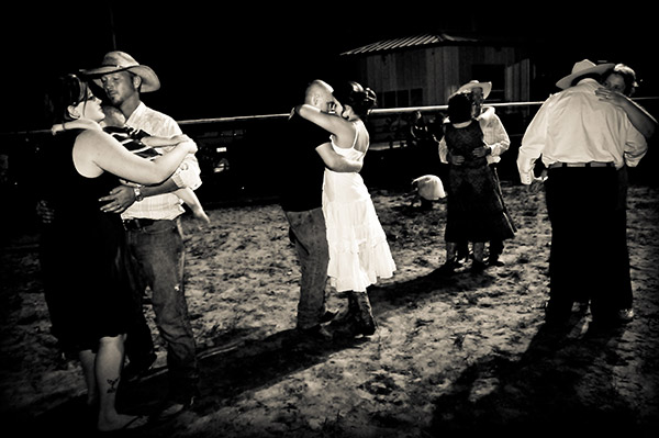 Black and White Image of Wedding Reception on Rodeo Grounds