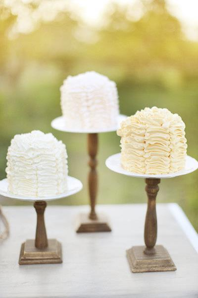 Three White Cake Featured on Three Cake Stands