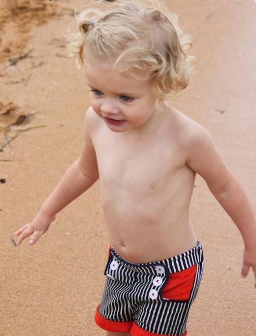 Little Blonde Boy Wearing Sailor Shorts