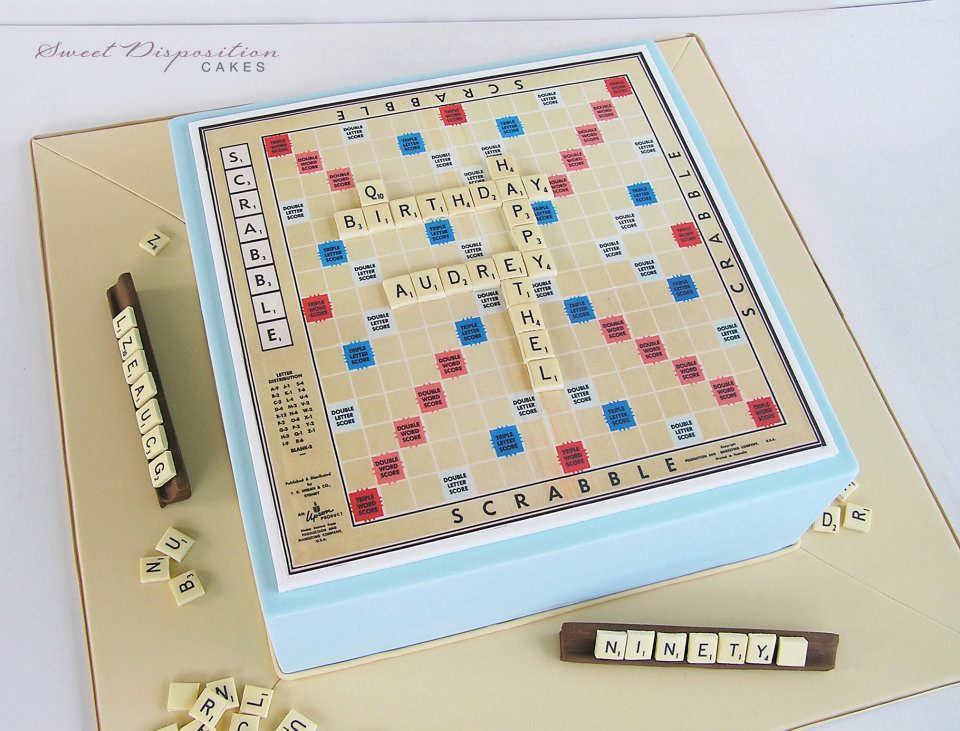 Cake in Shape of Scrabble Board, Complete with Pieces