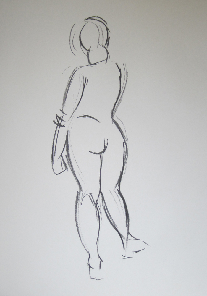 Beginning Sketch of Nude from Behind