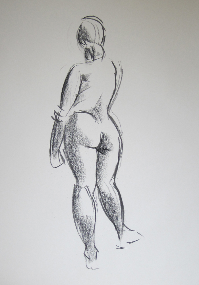 Sketch of Nude from Behind, Shadows Added