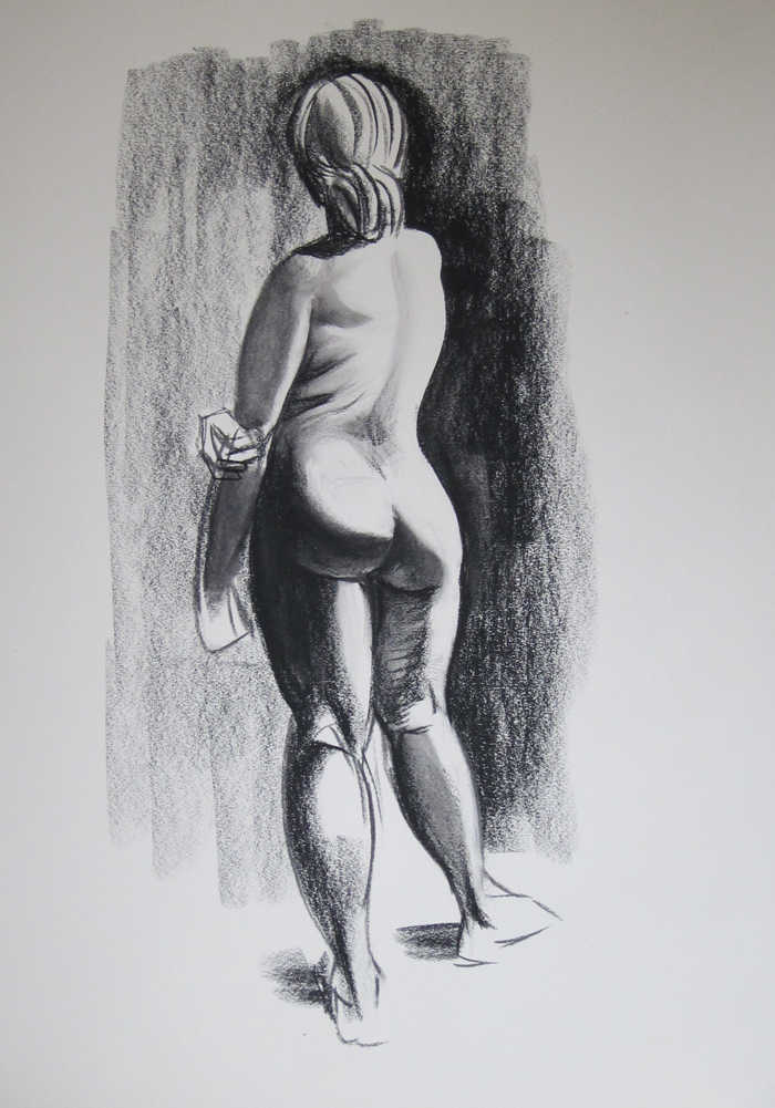 Sketch of Nude from Behind, Textured Further
