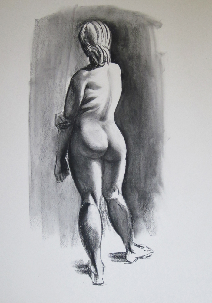 Sketch of Nude from Behind, Shaded, Blended