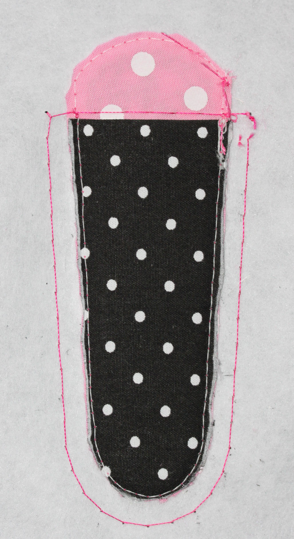 Polka Dot Fabric Cut Along Outline Stitch