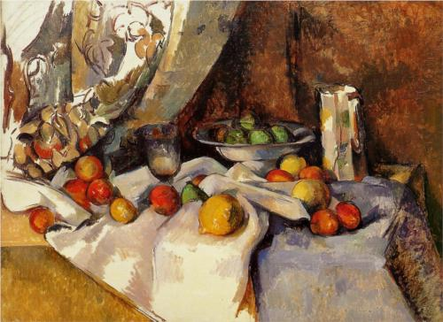 """Still Life Post, Bottle, Cup and Fruit"" 1871 Cezanne"