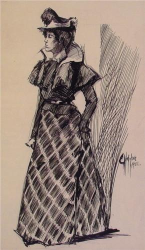 Drawing of Woman from 19th Century