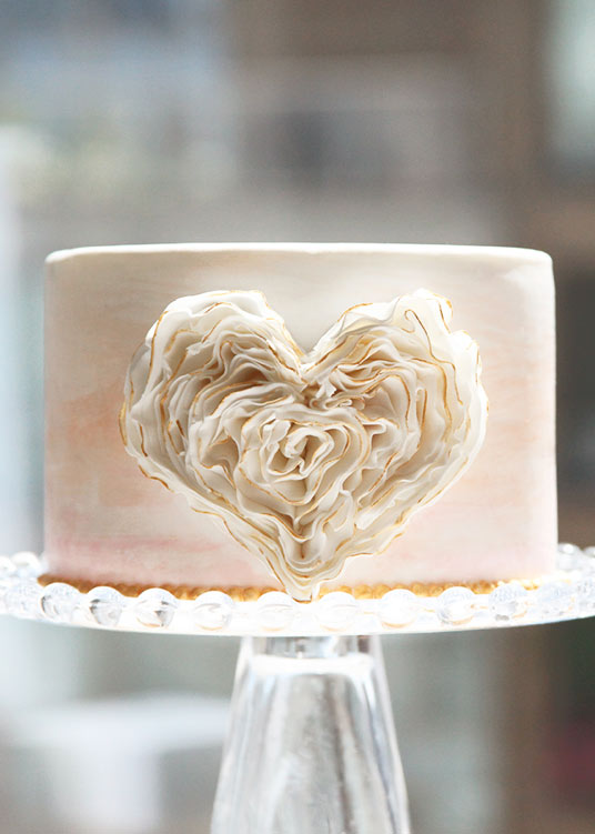 Cake with Frilled Heart with Gold Edges