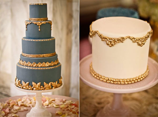 Two Cakes Side-by-Side with Gold Decoration