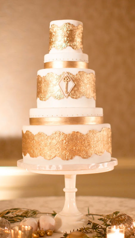 Tiered Cake with Gold Decoration and Gold Key