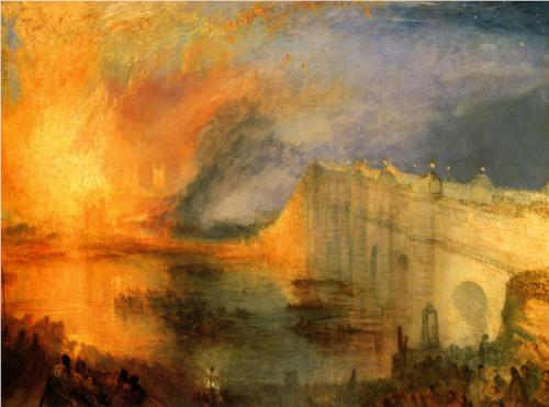 Painting of a Burning River and Bridge