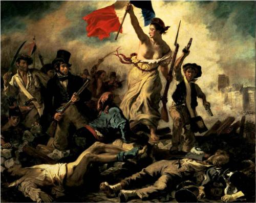 Painting of Woman with Flag on Battlefield