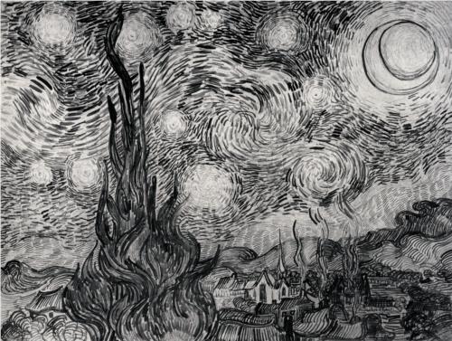 Drawing of Van Gogh's Starry Night