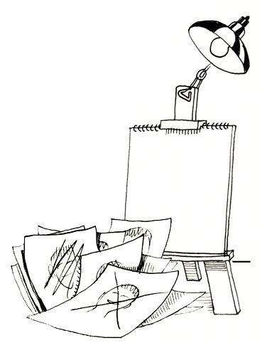 Cartoon of Drawing Pad Next to Drawing Rough Drafts